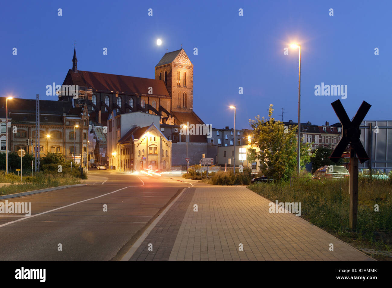 St. Nikolai's Church in Wismar in the evening, Germany - Stock Image