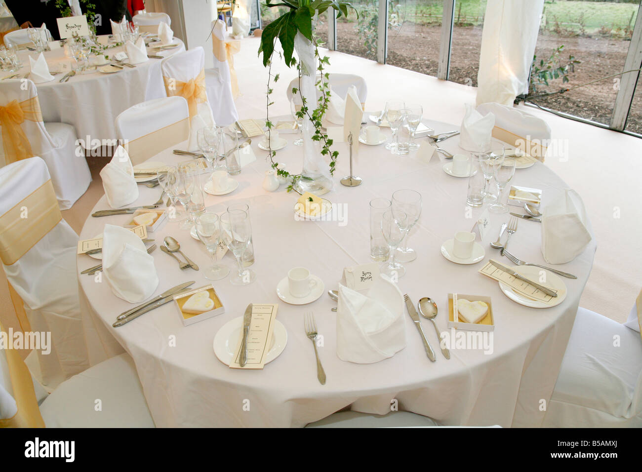 A Table Setting At A Wedding Reception Stock Photo 20519594 Alamy