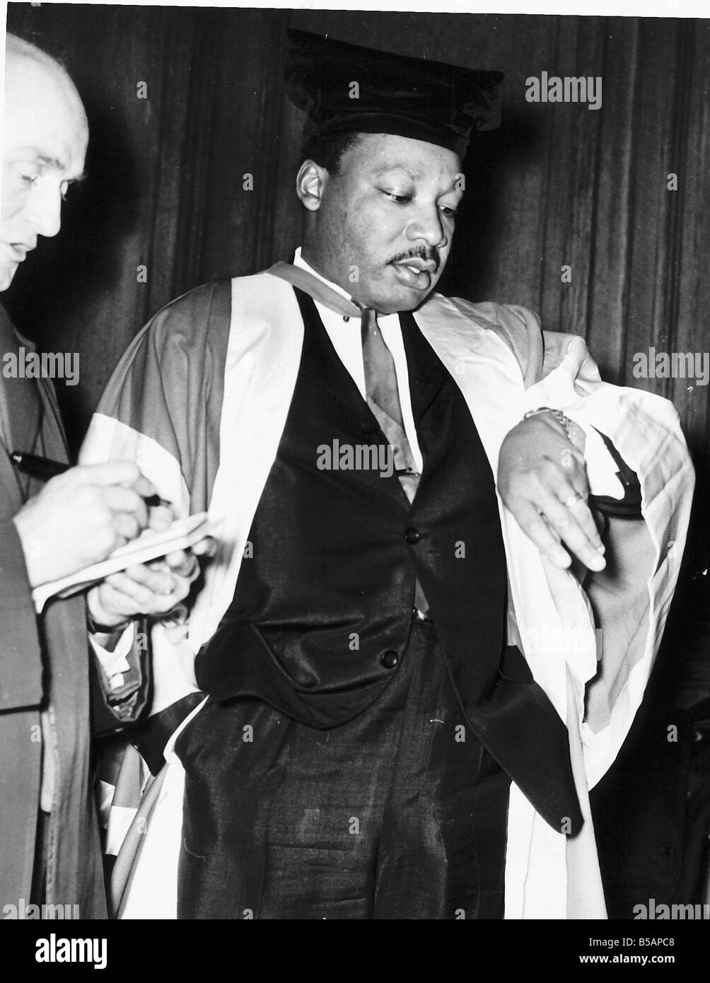 Martin Luther King American Civil Rights leader getting an Honoraray Degree of Doctor of law - Stock Image