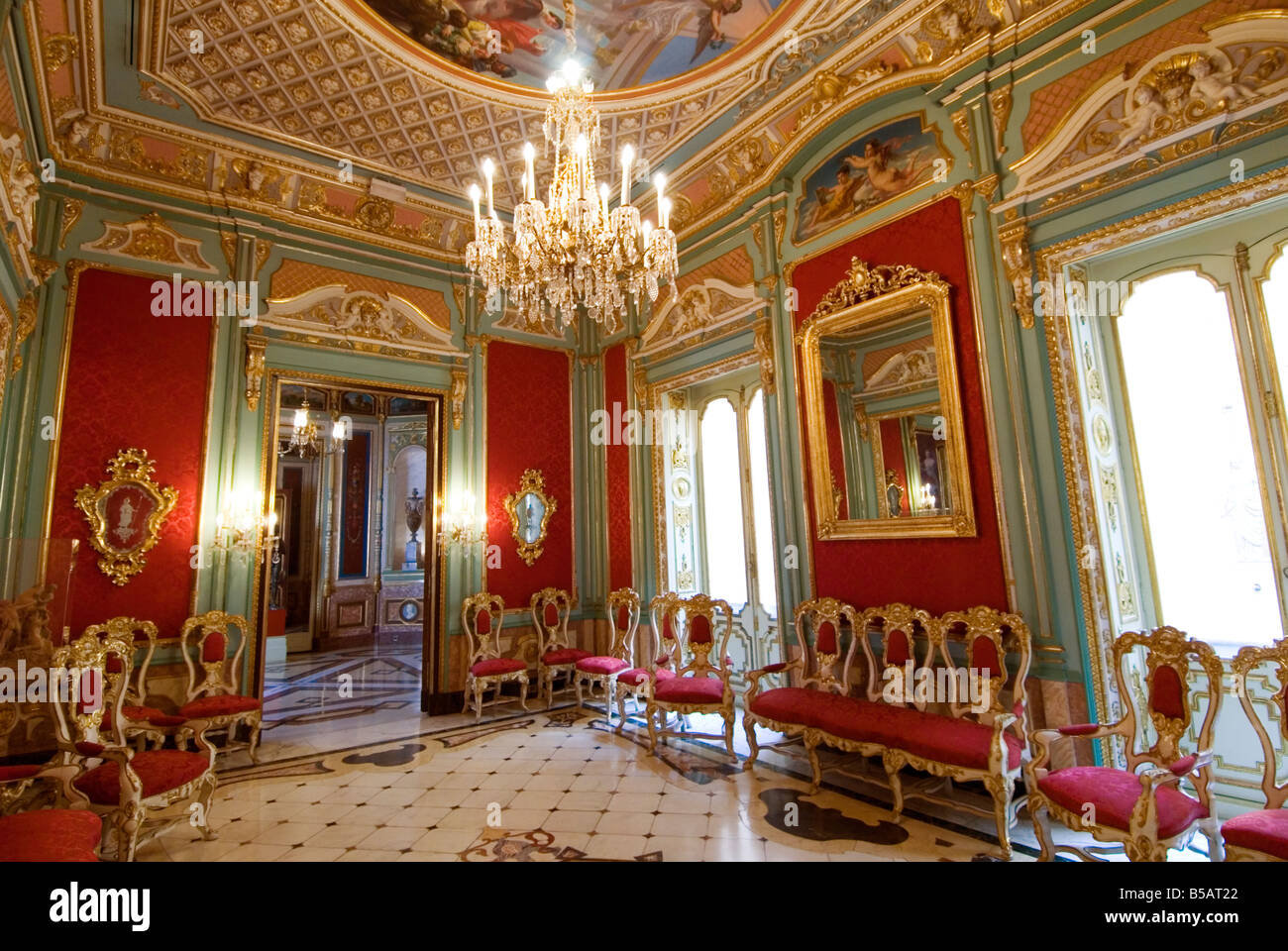The Red Hall Sala Roja inside the Palacio del Marques de Dos Aguas which houses the ceramic museum Valencia. Spain - Stock Image