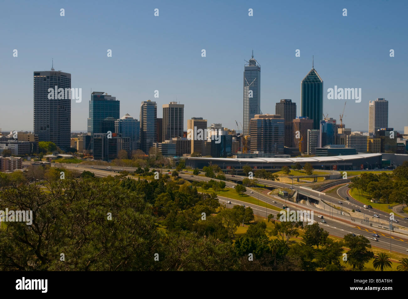 View of the Perth CBD skyline from Kings Park - Stock Image