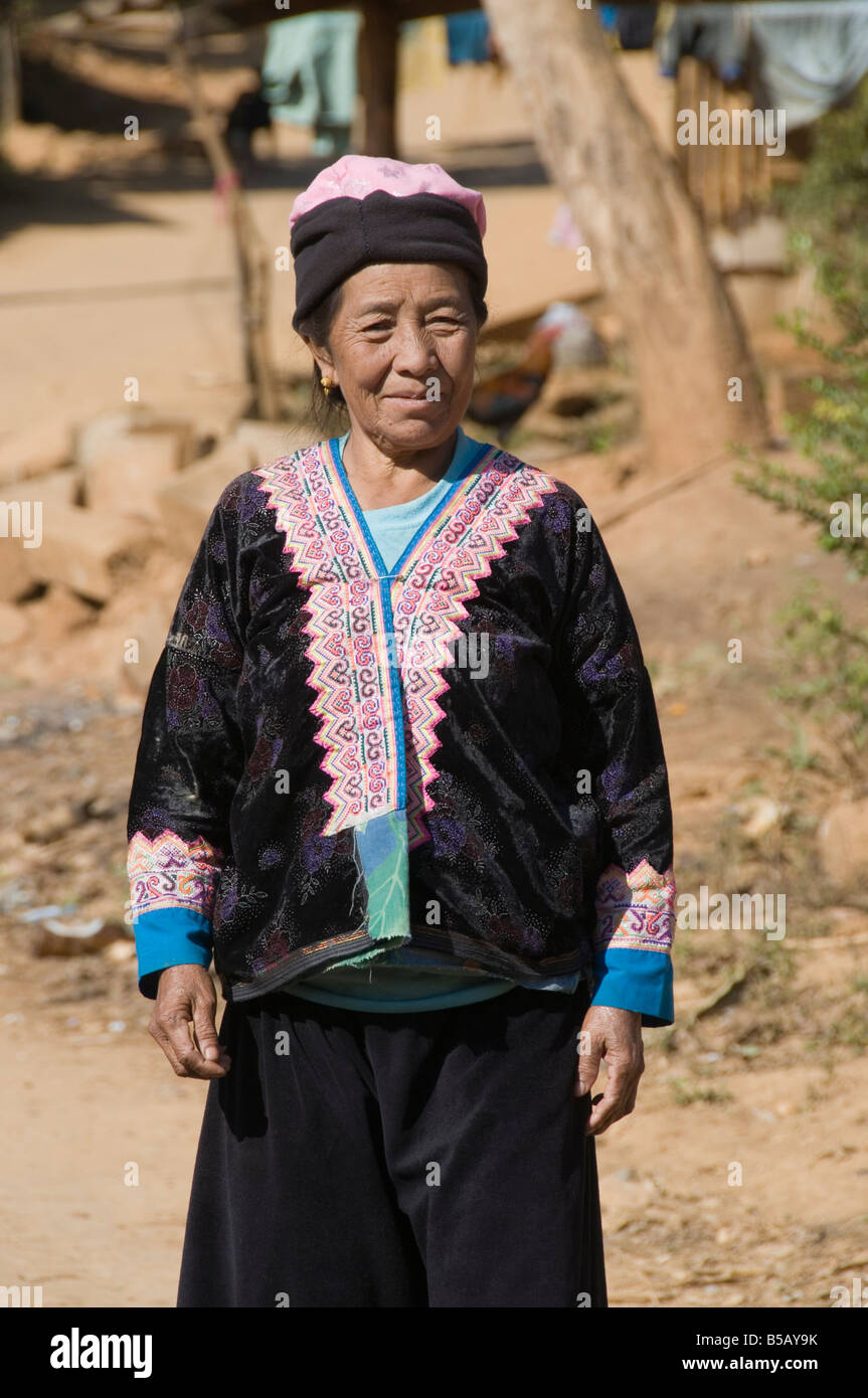 Hmong tribal people in hill village, Golden Triangle, Thailand, Southeast Asia - Stock Image