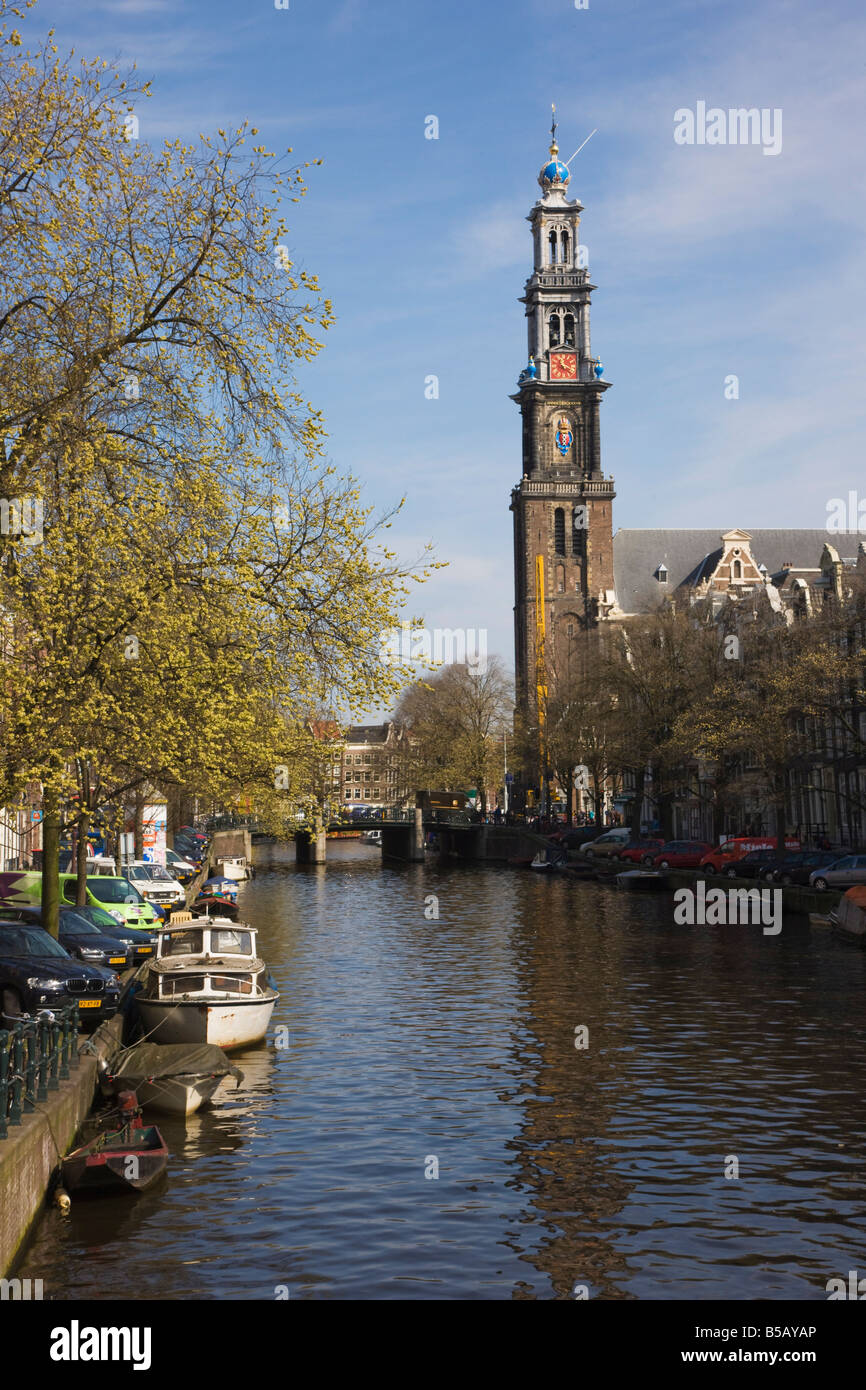 Westerkerk church and the Prinsengracht canal, Amsterdam, Netherlands, Europe - Stock Image