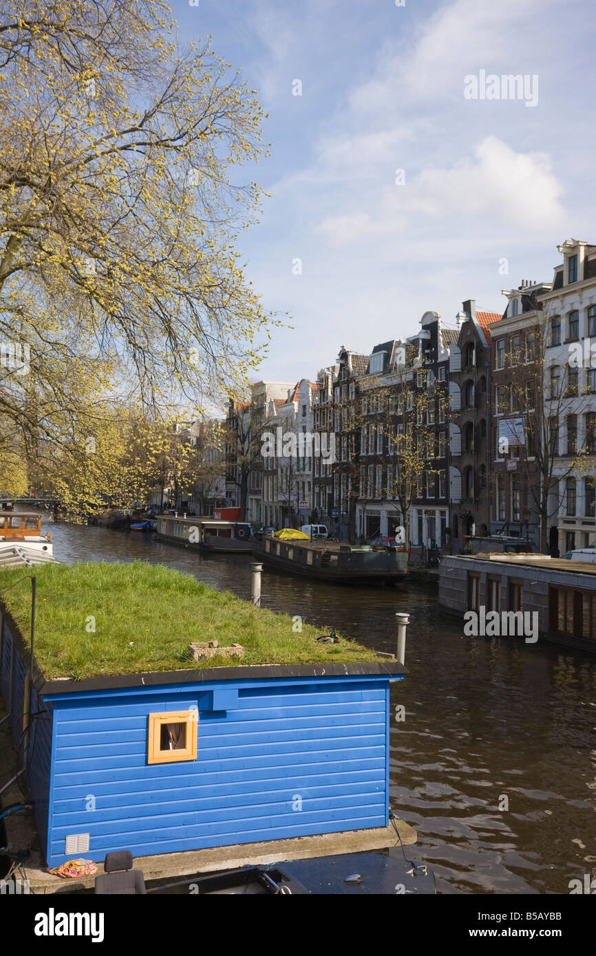 Houseboats on the Prinsengracht canal, Amsterdam, Netherlands, Europe - Stock Image