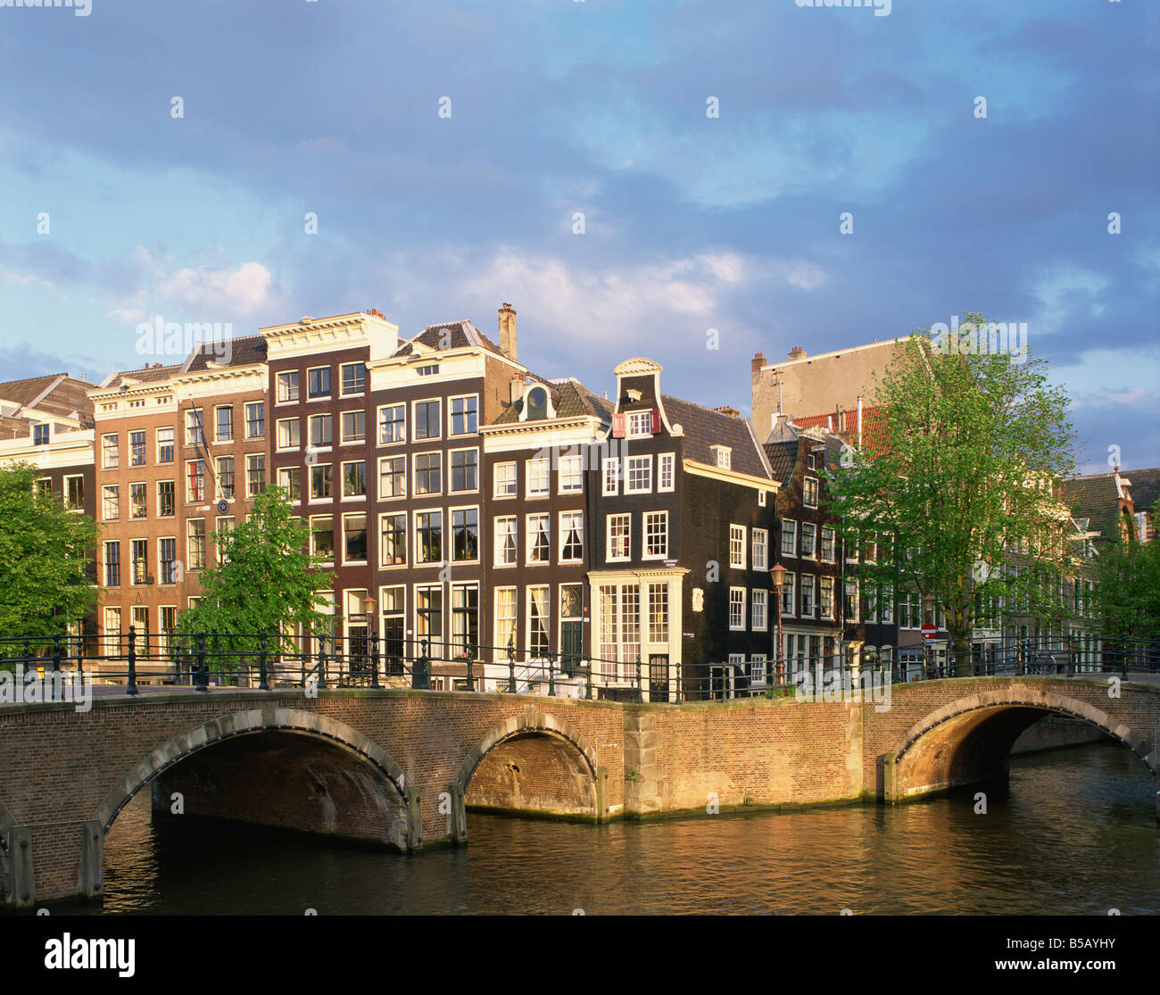 The Keizersgracht and Reguliergracht canal and bridges in Amsterdam Holland N Francis - Stock Image