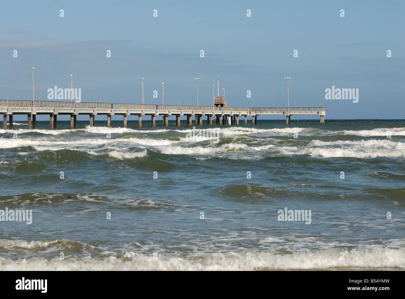 Bob Hall pier on Padre Island, Southern Texas USA - Stock Image