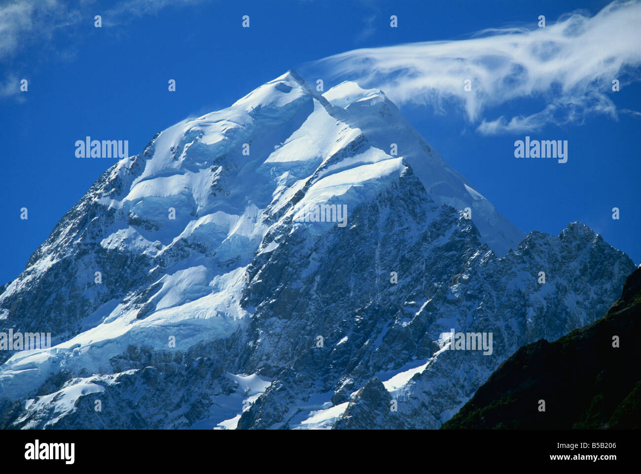 Mount Cook, highest mountain in Australasia, Mount Cook National Park, Canterbury, South Island, New Zealand, Pacific - Stock Image