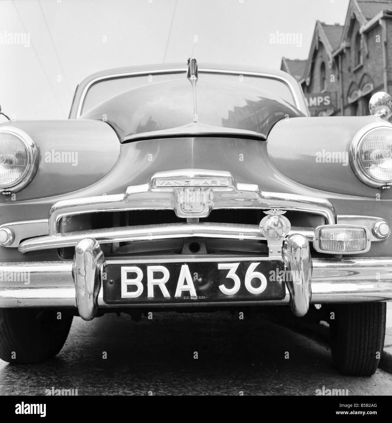 Standard Vanguard car with humourous registration number plate BRA 36. 1955 & Standard Vanguard car with humourous registration number plate BRA ...