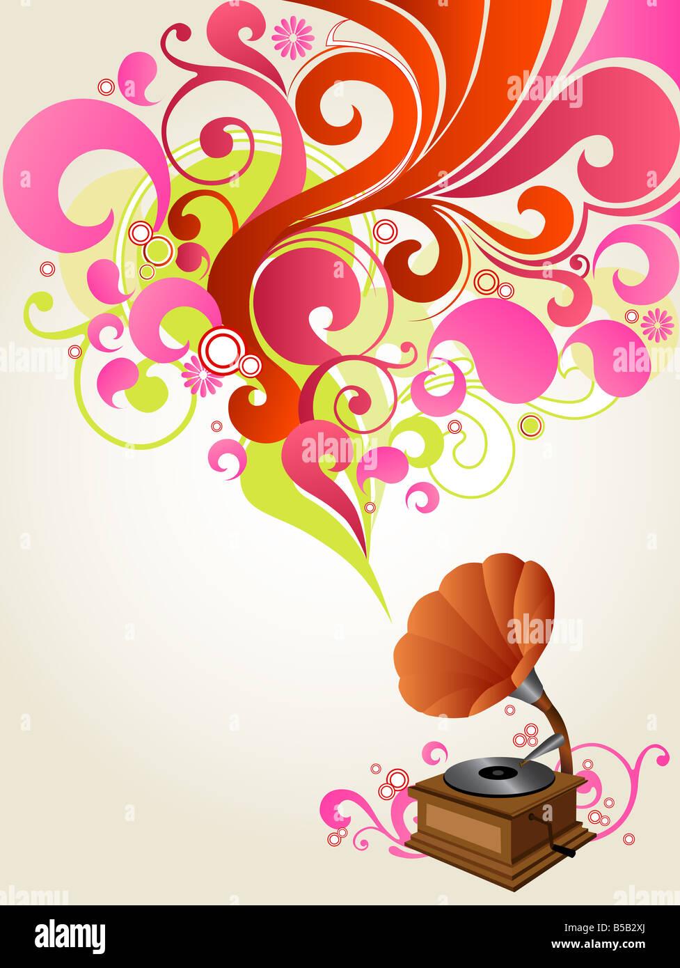 illustration drawing of music background - Stock Image