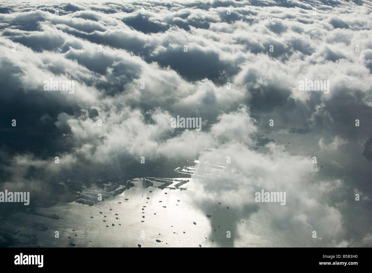 aerial view above fog entering Richardson Bay at Sausalito Marin County California - Stock Image