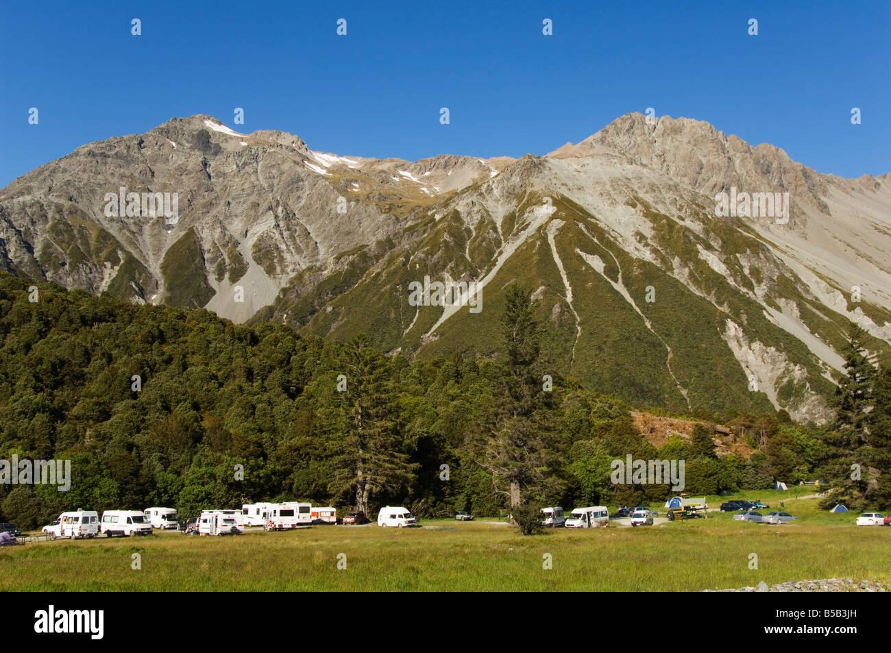 A designated campsite in Aoraki National Park, part of Te Wahipounamu, Mackenzie Country, South Island, New Zealand - Stock Image