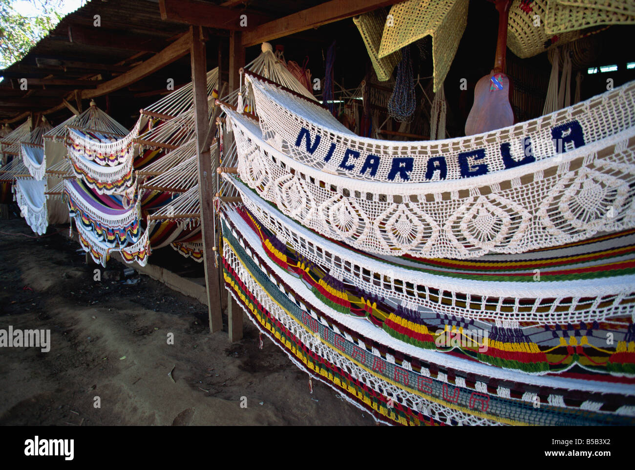 Elaborate hammocks for sale in the market, Masaya, Nicaragua, Central America - Stock Image