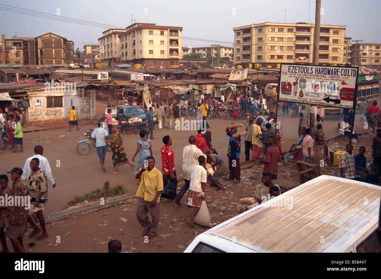 Street scene Onitsha Nigeria West Africa Africa Stock Photo - Alamy
