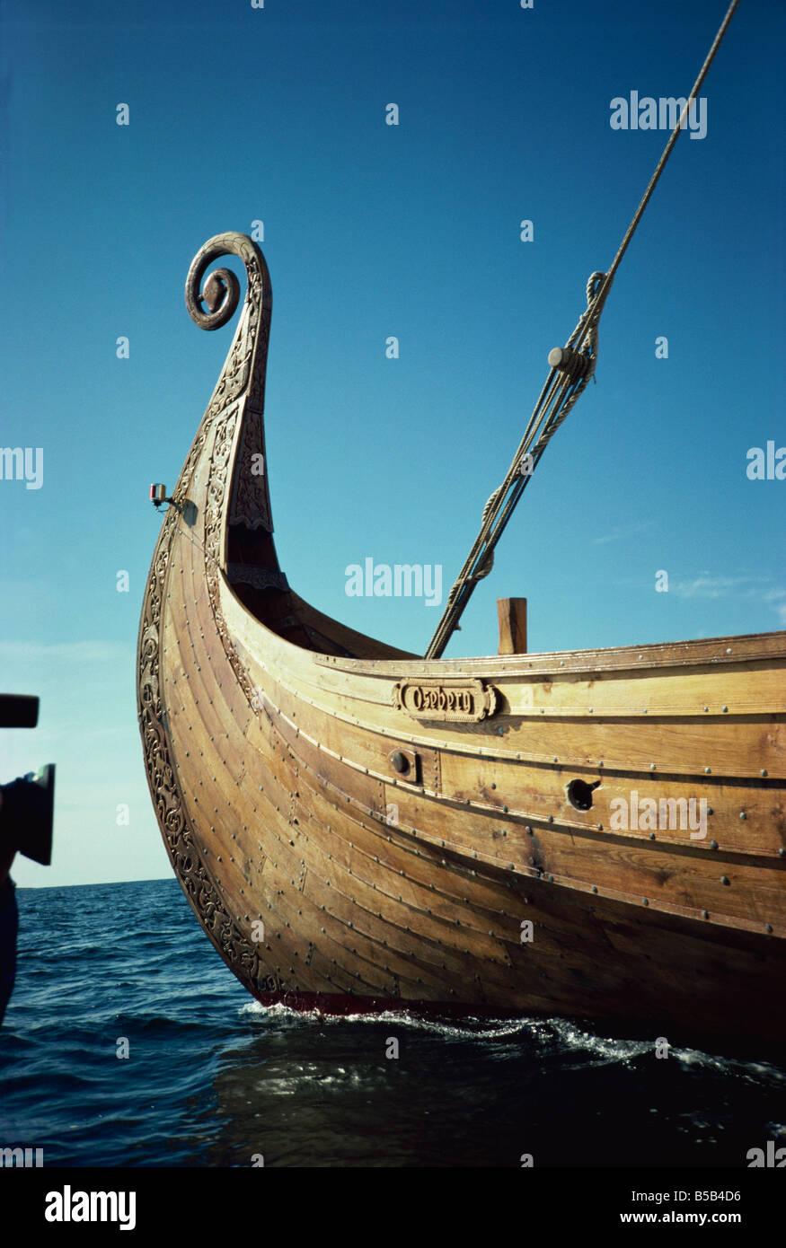 Replica of 9th century Viking ship Oseberg Norway Scandinavia Europe - Stock Image