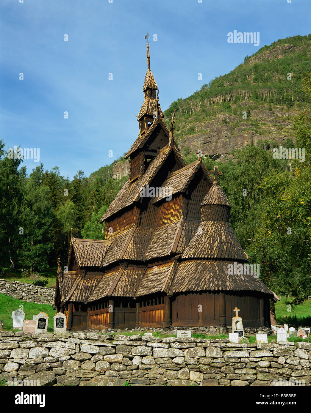 Best preserved 12th C Stave Church in Norway Borgund Stave Church Western Fjords Norway G Hellier - Stock Image