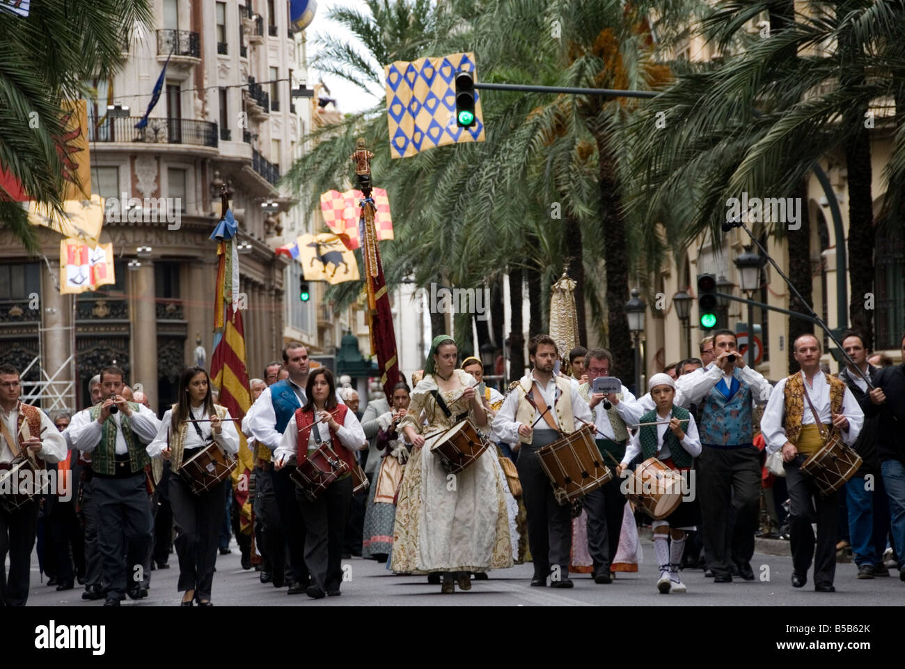 Nou D Octubre 9th October in commemoration of the entrance of King James I into the city of Valencia Spain - Stock Image