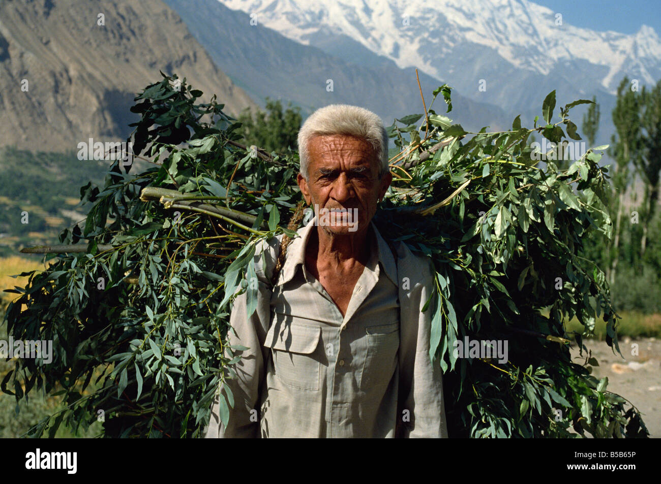 Farmer carrying heavy load, Hunza Valley, Pakistan - Stock Image