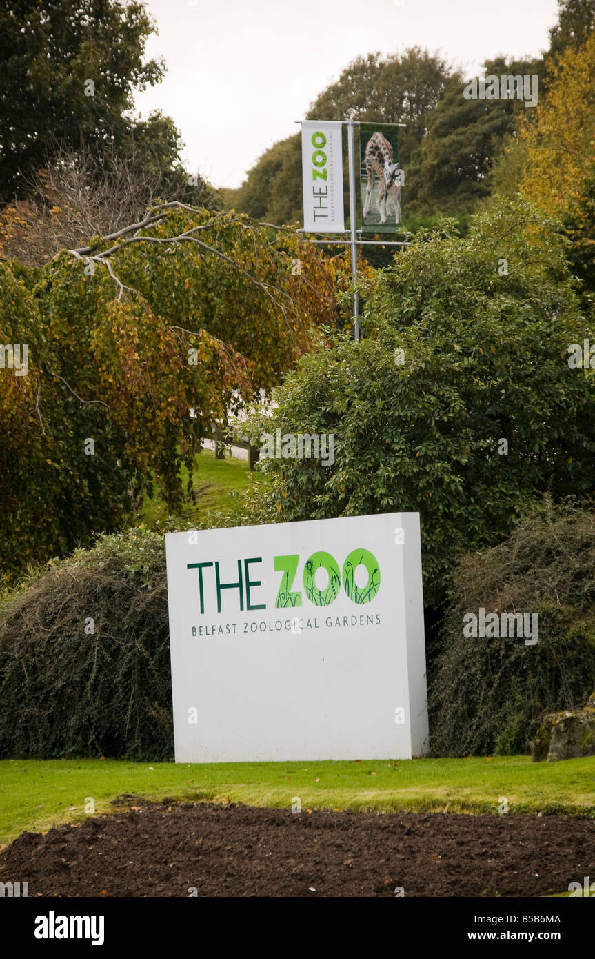 Sign at entrance of Belfast Zoo - Stock Image