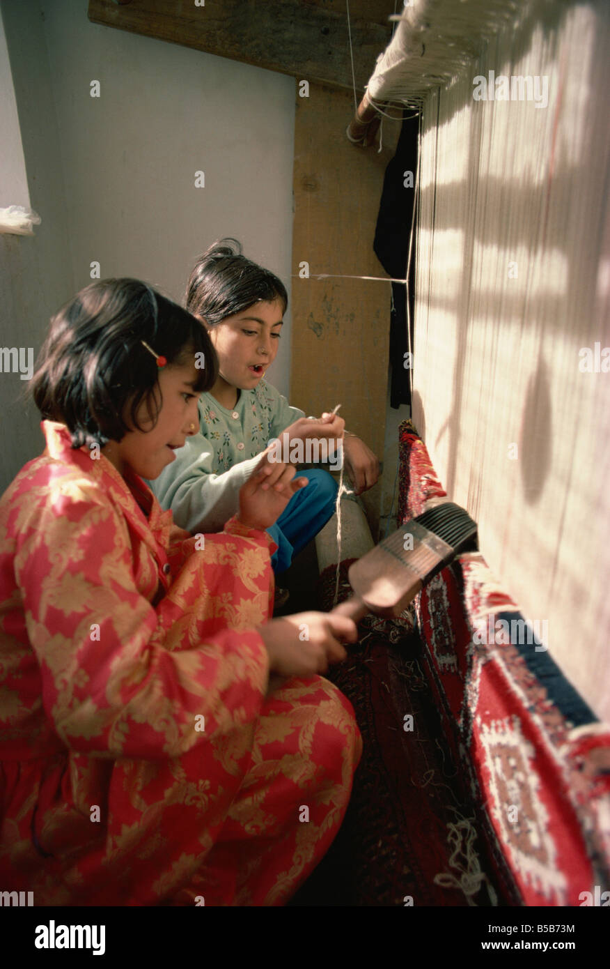 Carpet factory in the 1970s Quetta Pakistan Asia - Stock Image