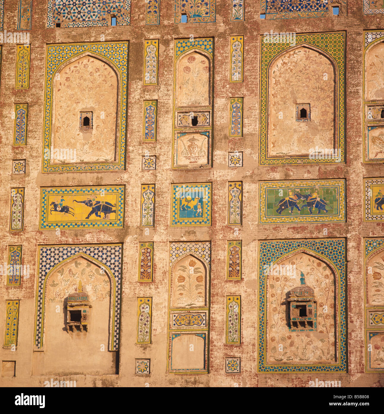 Close up of decorative tiles on a brick building in Lahore Pakistan Asia R Cundy - Stock Image