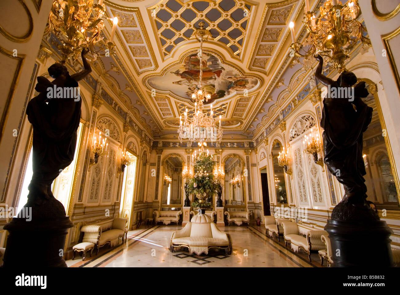 Ballroom Salon de Bail in the Palacio del Marques de Dos Aguas which houses the Ceramic museum. Valencia - Stock Image