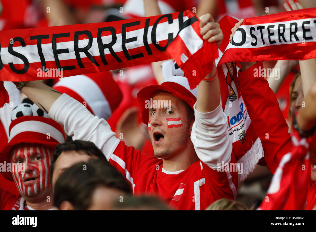 Austrian supporters cheer their team prior to a UEFA Euro 2008 group stage against Germany June 16, 2008. - Stock Image
