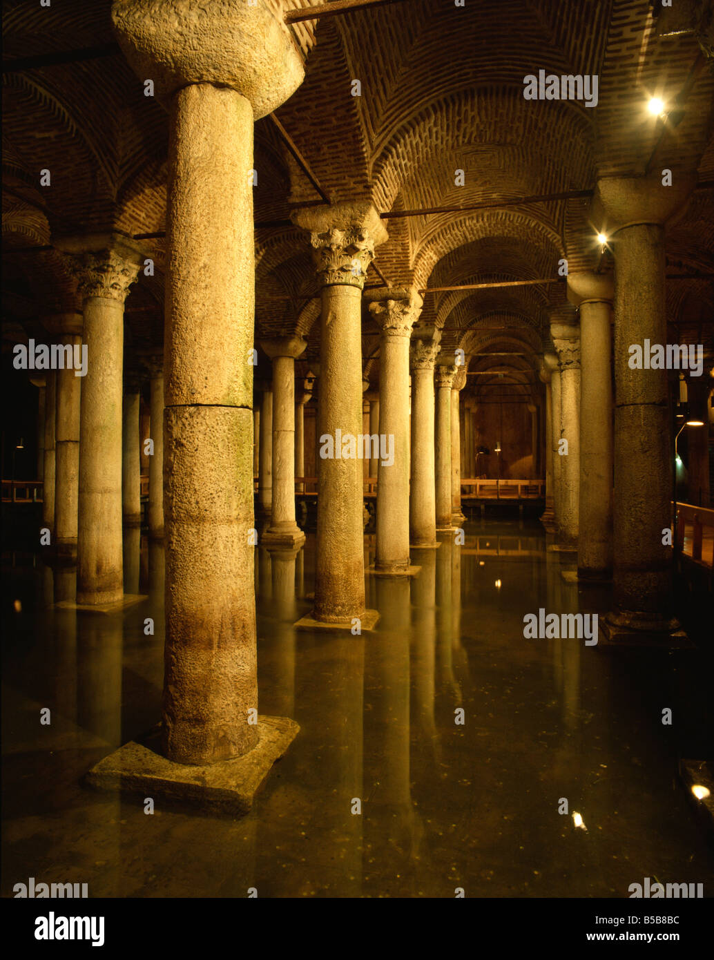 Yerebatan Saray underground cistern Istanbul Turkey Europe Stock Photo