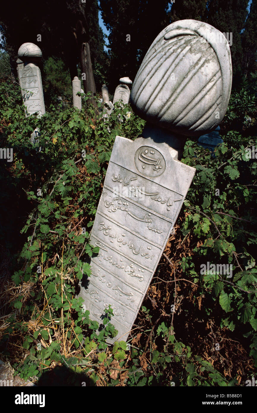 Tombstone in graveyard Istanbul Turkey Europe Stock Photo