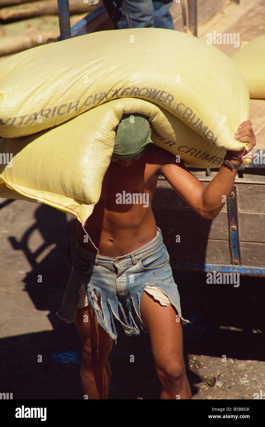 Stevedore carrying sacks at the docks in Iloilo City, Panay, Visayan Islands, Philippines, Southeast Asia - Stock Image