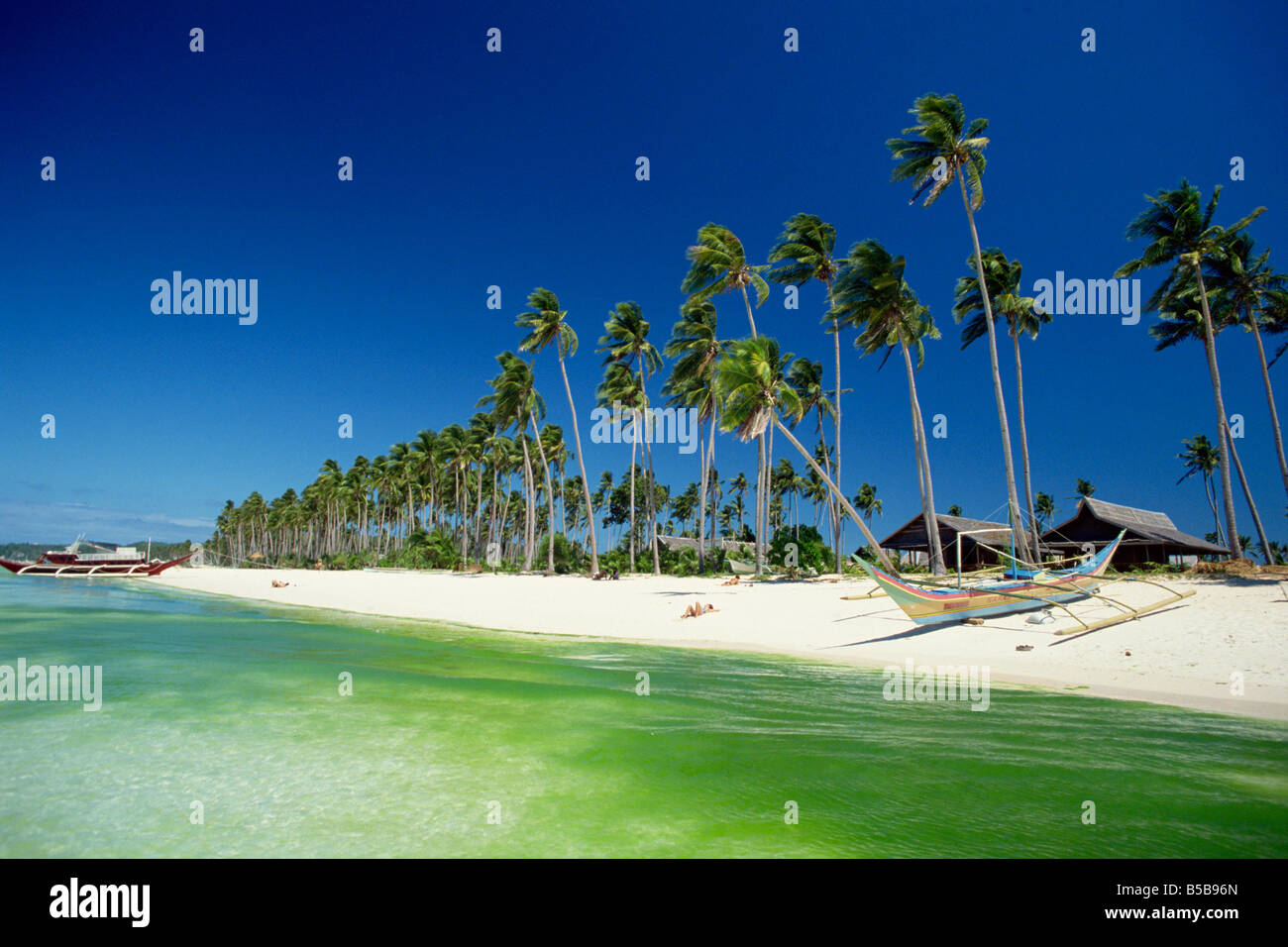 Beach on the west coast of resort island of Boracay off the coast of Panay, in the Philippines, Southeast Asia Stock Photo