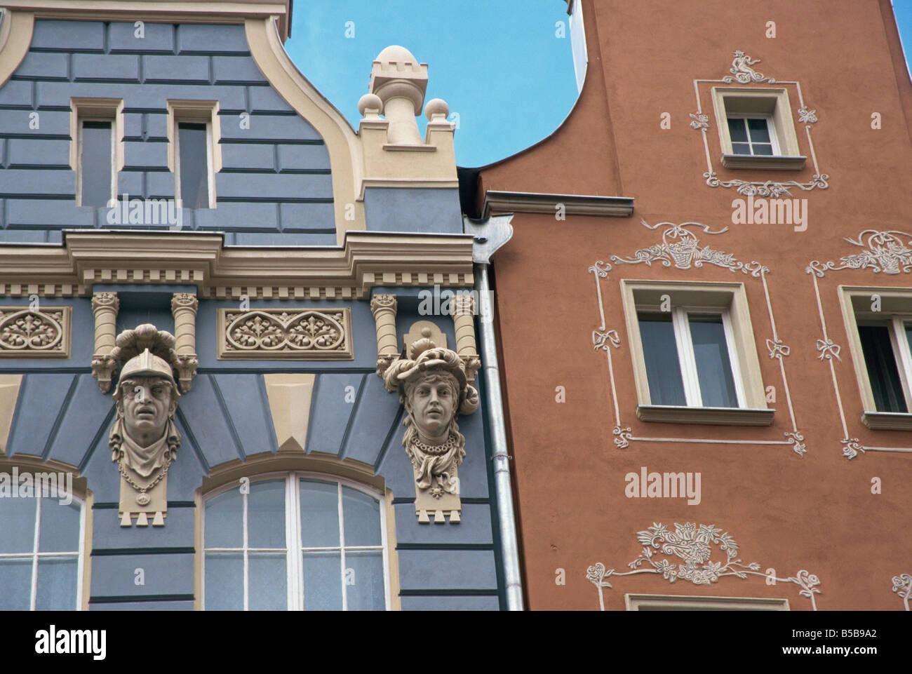 Gables Dtugi Gdansk Pomerania Poland Europe - Stock Image