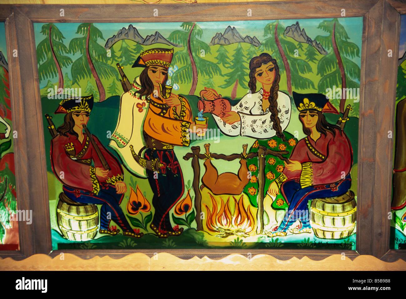 Glass panels of folk art at Redykokka Restaurant Zakopane Makopolska Poland Europe - Stock Image