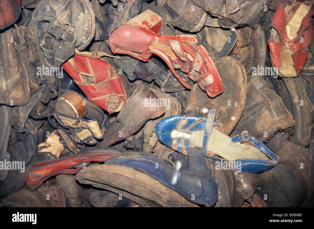Prisoners shoes Auschwitz Makopolska Poland Europe - Stock Image