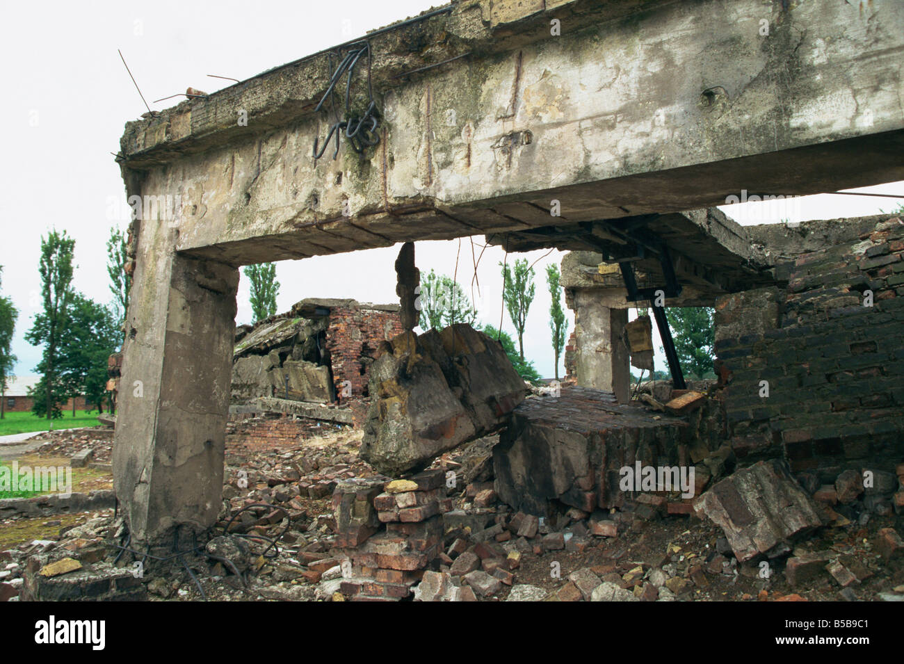 Ruins of gas chamber Birkenau Makopolska Poland Europe - Stock Image