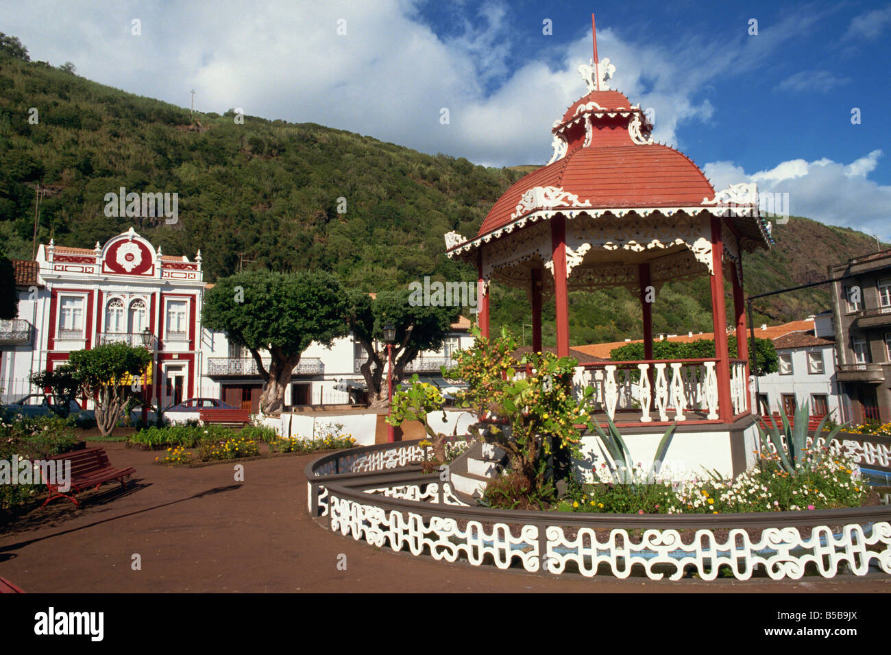 Bandstand in municipal gardens Velas Sao Jorge Azores Portugal Europe - Stock Image