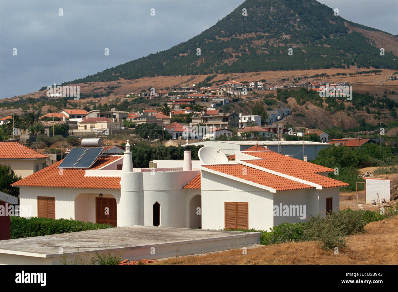 New homes in Vila Baleira Porto Santo Island off Madeira Portugal Atlantic Europe - Stock Image