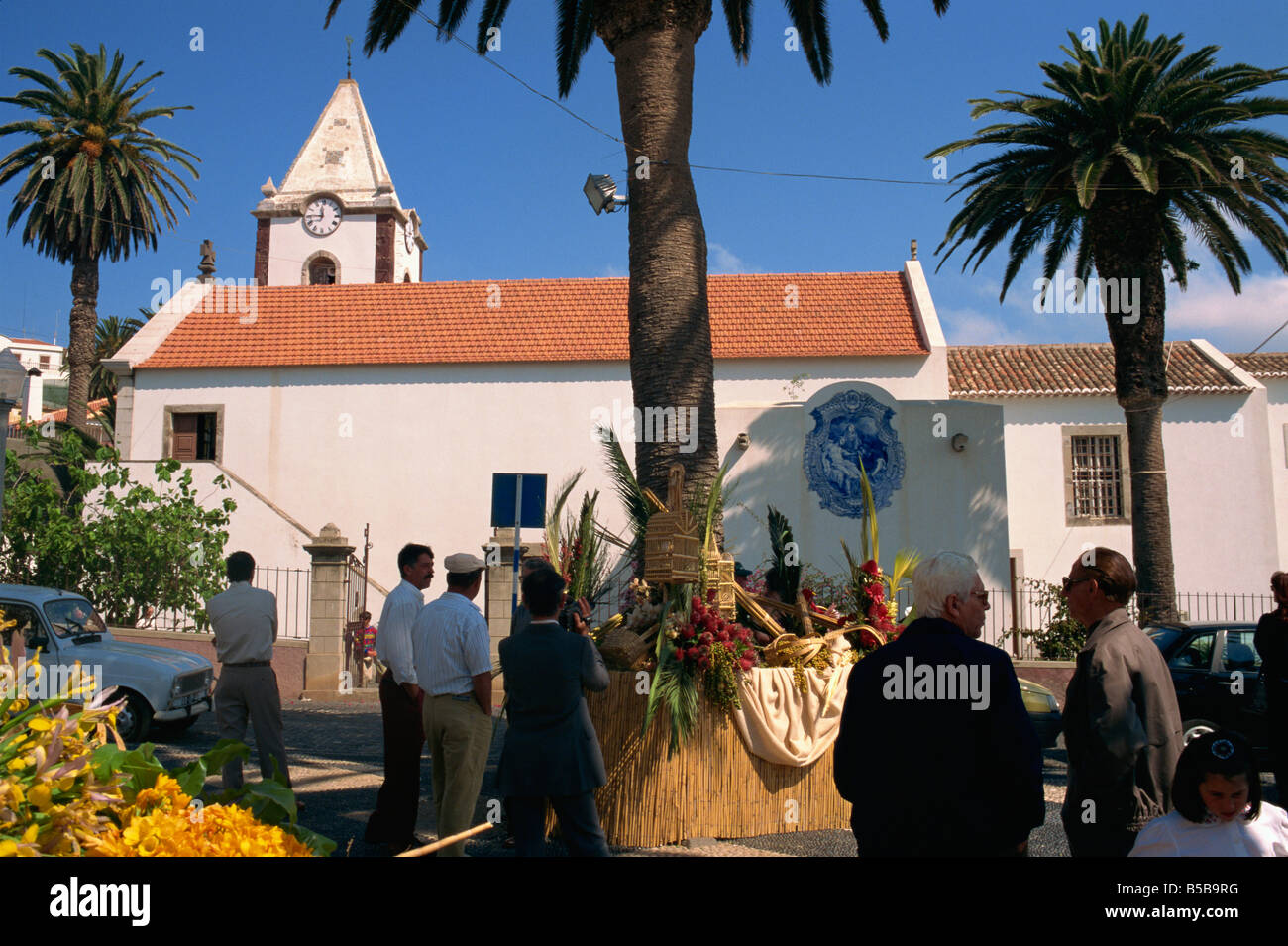 Easter floral display in square outside church Porto Santo Island off Madeira Portugal Atlantic Europe - Stock Image