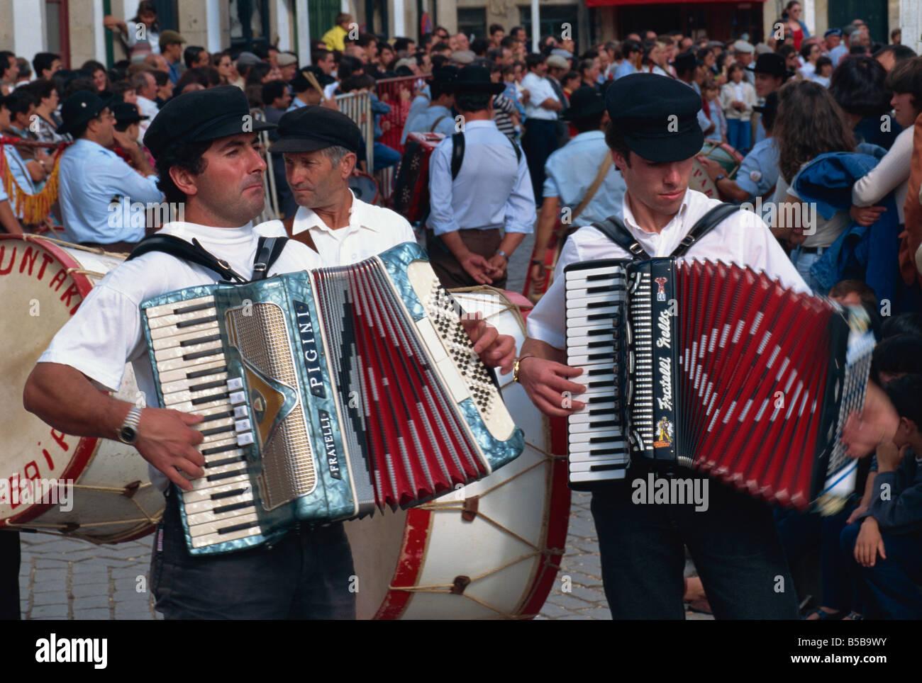 Accordions, New Fairs parade, Ponte de Lima, Minho, Portugal, Europe - Stock Image