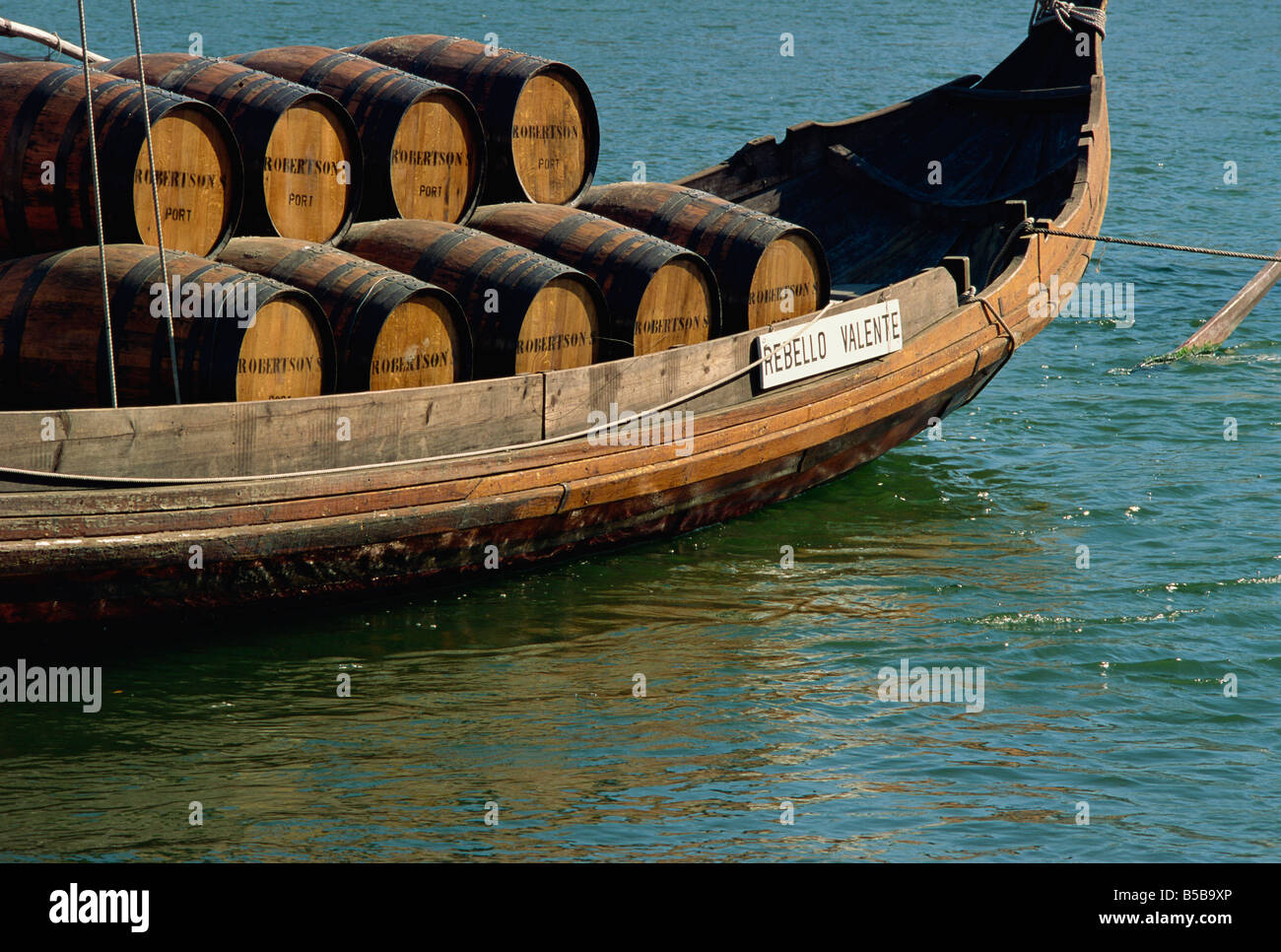 Port barrels, River Douro, Oporto, Portugal, Europe - Stock Image