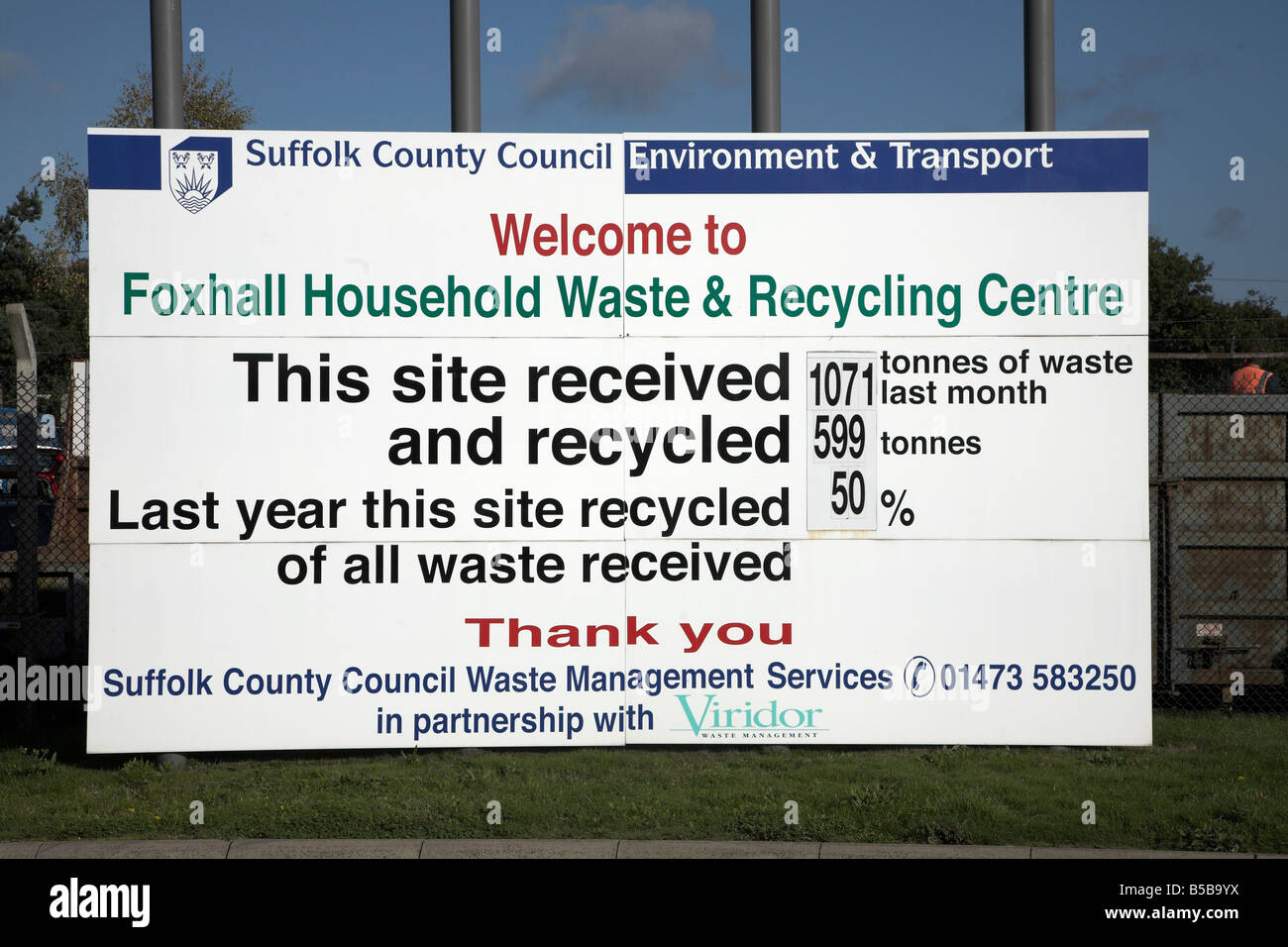 Household waste and recycling centre Foxhall near Ipswich Suffolk England - Stock Image