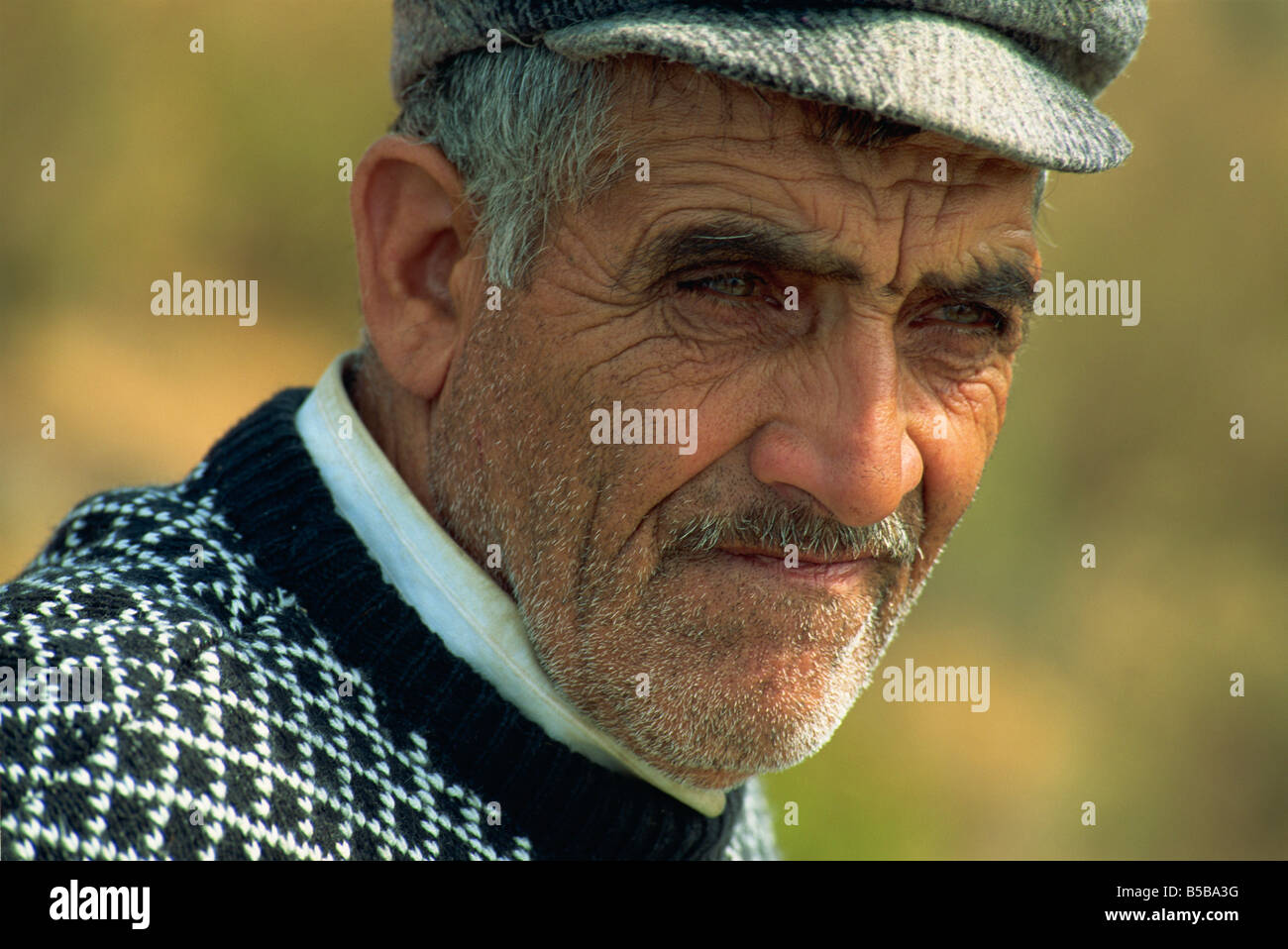 Portrait of an old man with moustache and flat cap who is a phaeton driver in Buyuk Ada on Princes Islands Turkey - Stock Image