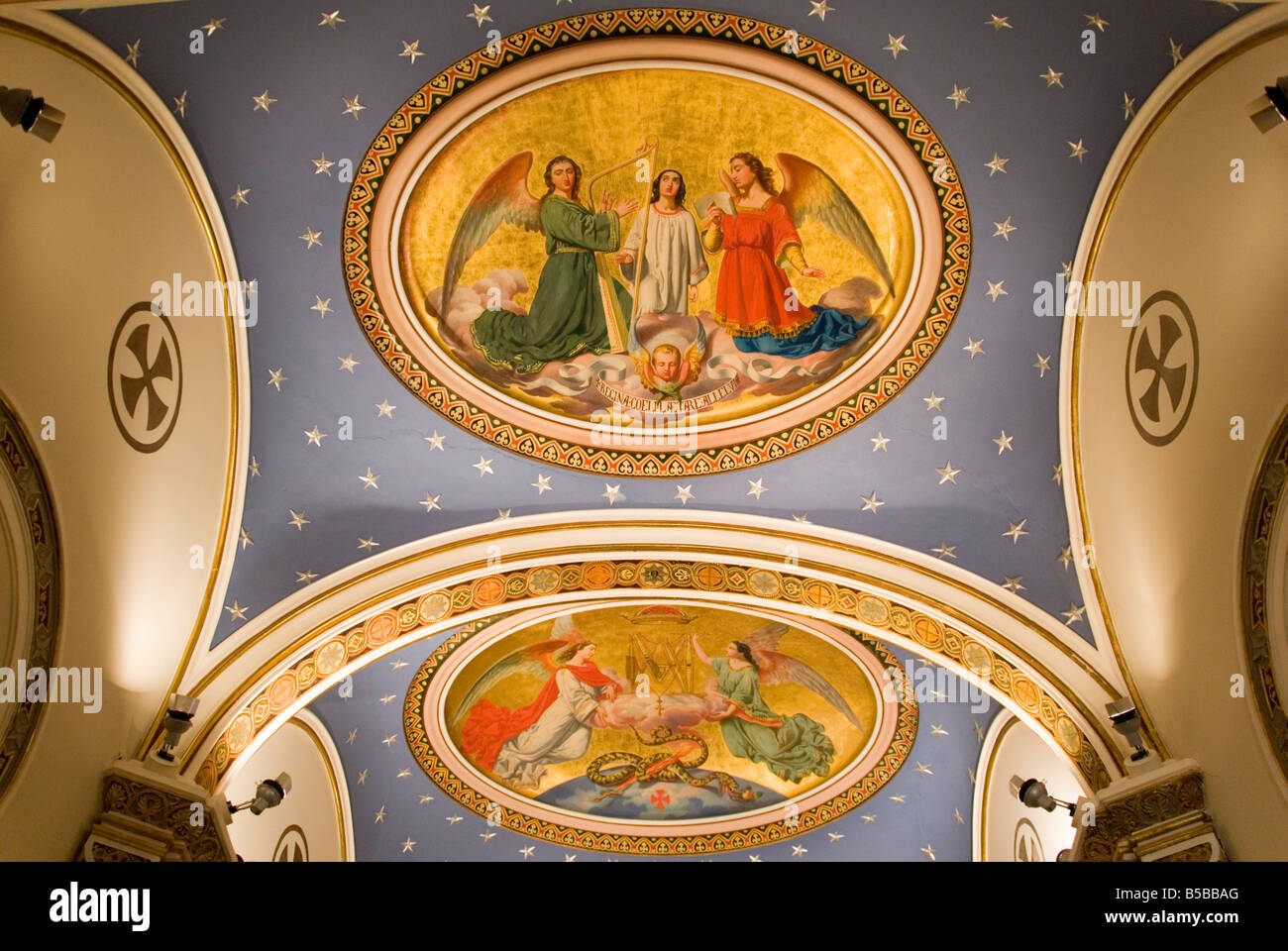 Painted ceiling of an alter Oratorio in the Palacio del Marques de Dos Aguas which houses the Ceramic museum. Valencia. - Stock Image