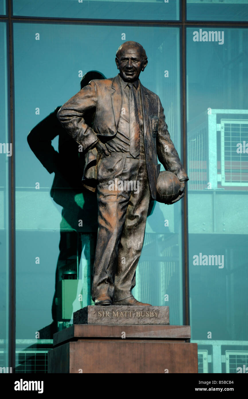 Sir Matt Busby statue, Manchester United Football Club Stadium, Old Trafford, Manchester, England, Europe - Stock Image