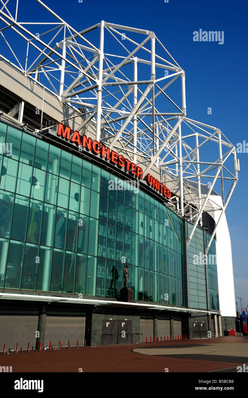 Main entrance at Manchester United Football Club Stadium, Old Trafford, Manchester, England, Europe - Stock Image