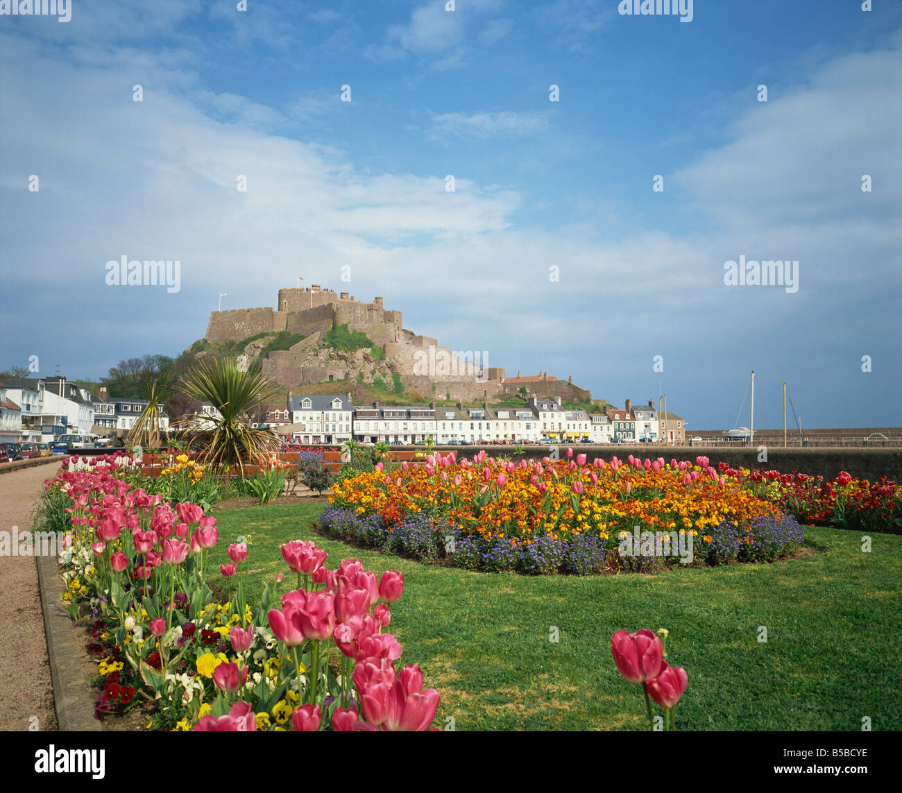 Mount Orgueil Castle Gorey St Martin Jersey Channel Islands United Kingdom Europe - Stock Image