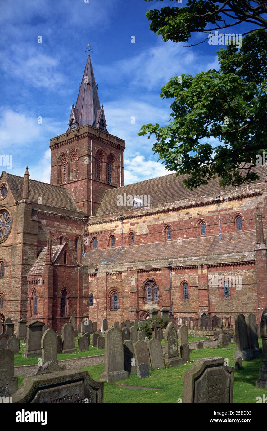 St Magnus cathedral dating from the 12th century Kirkwall Orkney Islands Scotland United Kingdom Europe - Stock Image