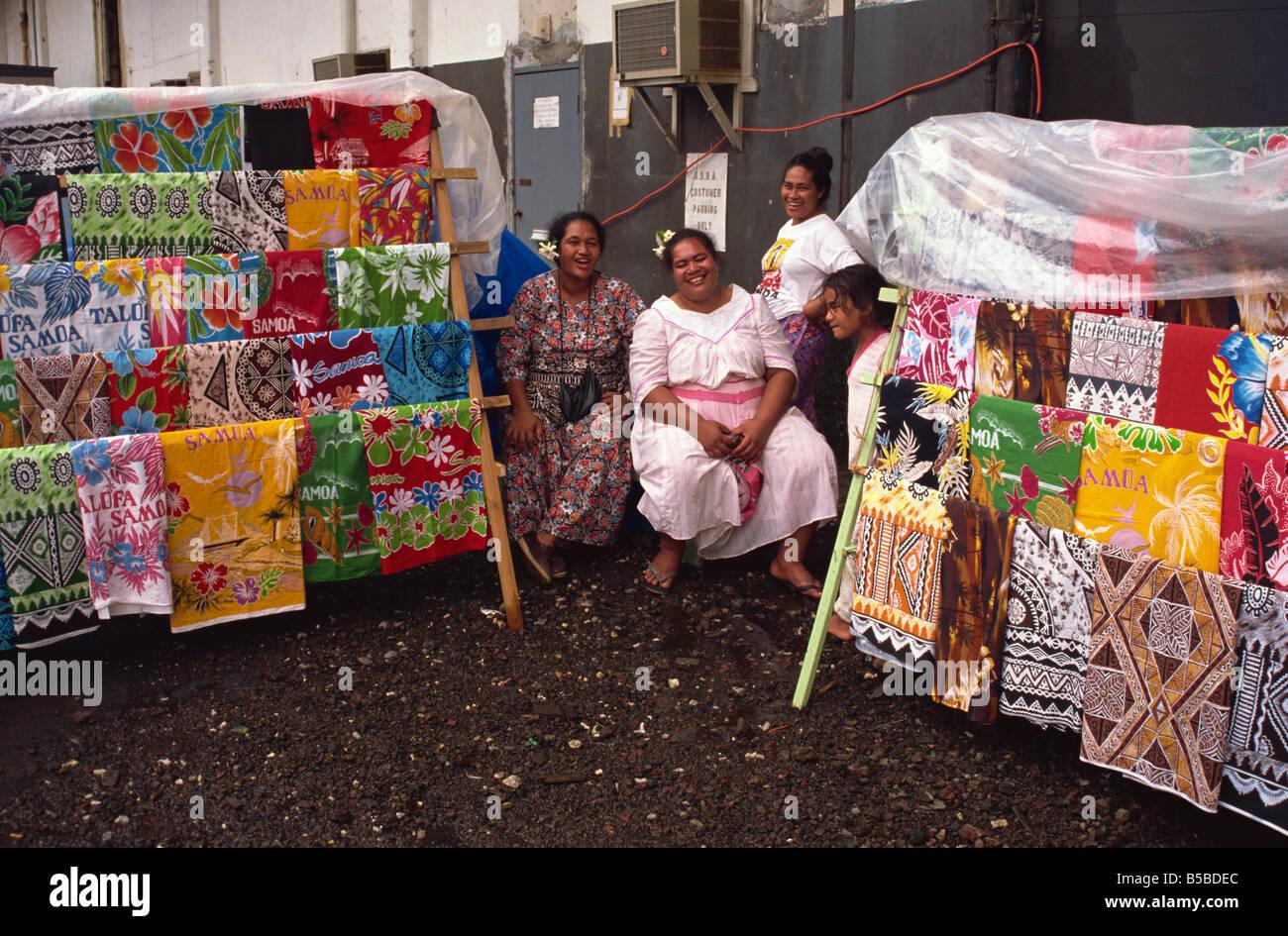 Vendors with printed cotton fabrics Pago Pago U S Samoa Pacific Islands Pacific - Stock Image