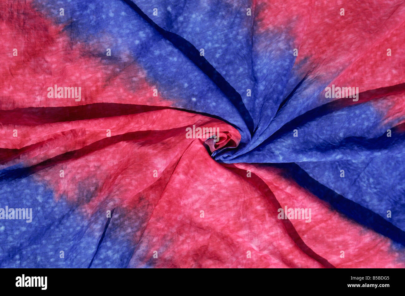 Pink and blue hand-dyed fabric, Apia, Upolu, Western Samoa, Pacific Islands, Pacific - Stock Image