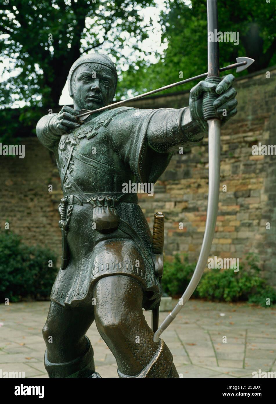Statue of Robin Hood, Nottingham, Nottinghamshire, England, Europe - Stock Image