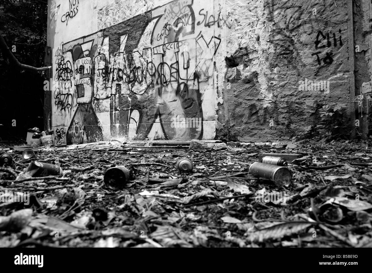 Graffitos and graffito design bomb in the Piaggio Villa. Devastation, ruin, deterioration in a Genoa park. - Stock Image